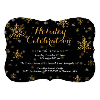 Elegant Gold Snowflake Holiday Party Invitation