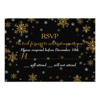 Elegant Gold Snowflake Holiday Party RSVP Invites