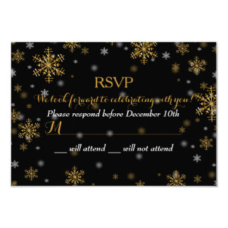 "Elegant Gold Snowflake Holiday Party RSVP 3.5"" X 5"" Invitation Card"