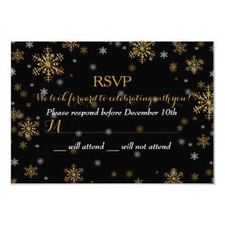 Elegant Gold Snowflake Holiday Party RSVP 9 Cm X 13 Cm Invitation Card
