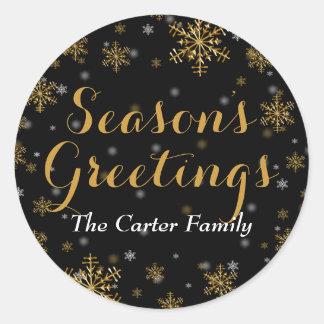 Elegant Gold Snowflake Season s Greetings Sticker