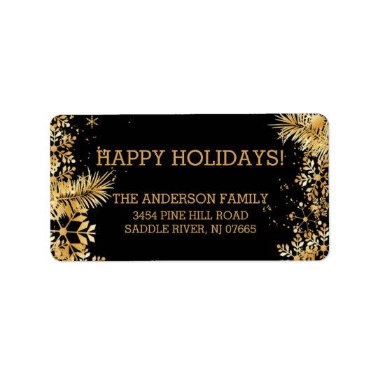 Elegant Gold Snowflakes Christmas Return Address Address Label