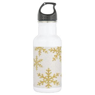 Elegant Gold Snowflakes On White Glittery 532 Ml Water Bottle