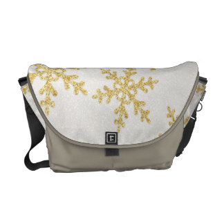 Elegant Gold Snowflakes On White Glittery Messenger Bags