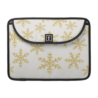Elegant Gold Snowflakes On White Glittery Sleeve For MacBook Pro