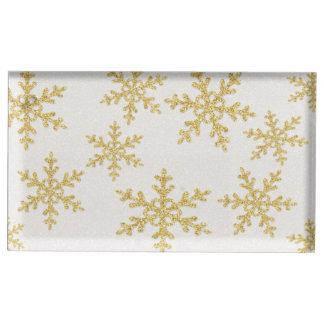 Elegant Gold Snowflakes On White Glittery Table Number Holder