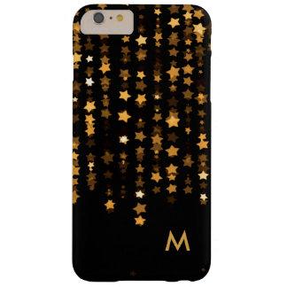 Elegant Gold Stars Confetti Monogram Barely There iPhone 6 Plus Case