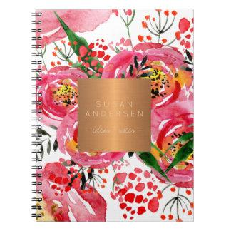 Elegant gold steel copper metallic blush floral spiral notebook