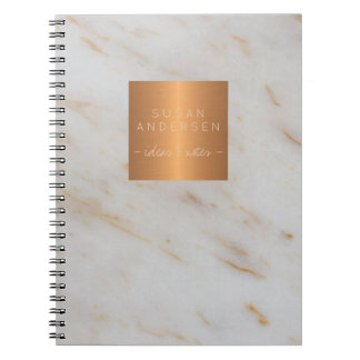 Elegant gold steel copper metallic grey marble notebook