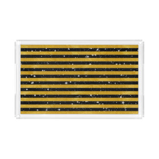 Elegant Gold Stripe -Custom Your Color- Acrylic Tray