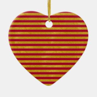 Elegant Gold Stripe -Custom Your Color- Ceramic Ornament