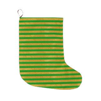Elegant Gold Stripe -Custom Your Color- Large Christmas Stocking