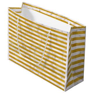 Elegant Gold Stripe -Custom Your Color- Large Gift Bag