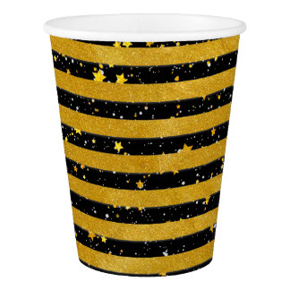 Elegant Gold Stripe -Custom Your Color- Paper Cup