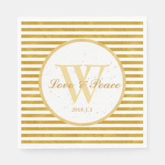 Elegant Gold Stripe -Happy Wedding Monogram- Disposable Napkins