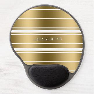 Elegant Gold Stripes Custom White Background Gel Mouse Pad