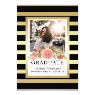 Elegant Gold Stripes Floral Graduation Photo Card