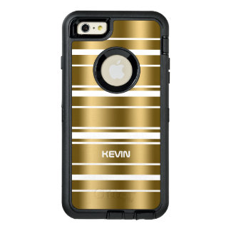 Elegant Gold Stripes Pattern On White Background OtterBox Defender iPhone Case