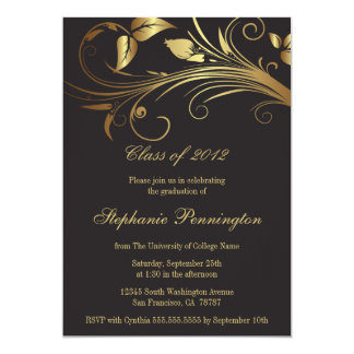 Elegant gold swirls graduation party announcement