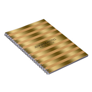 Elegant Gold & Tan Modern Stripes Notebook