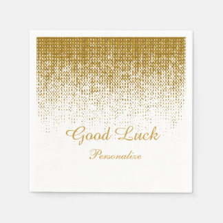 Elegant Gold Texture Print on White Background Disposable Serviettes