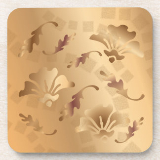 Elegant Gold Toned Beige Floral Coaster Set