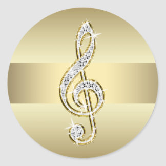 Elegant Gold Treble Clef Stickers