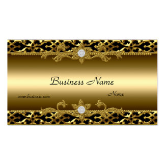 Elegant Gold Trim Black Diamond Jewel Double-Sided Standard Business Cards (Pack Of 100)