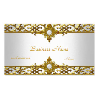 Elegant Gold Trim Pearl Jewel Double-Sided Standard Business Cards (Pack Of 100)