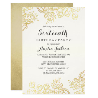Elegant Gold Vintage Floral 16th Birthday Card