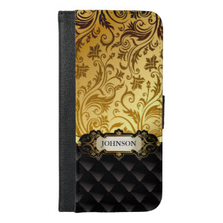 Elegant Gold Vintage Shadow Damask Black Diamond iPhone 6/6s Plus Wallet Case