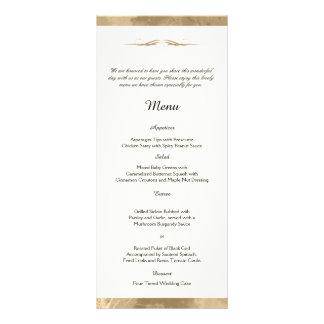 Elegant Gold Watercolor Wedding Menu Rack Card Design