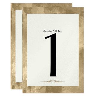 Elegant Gold Watercolor Wedding Table Number Card