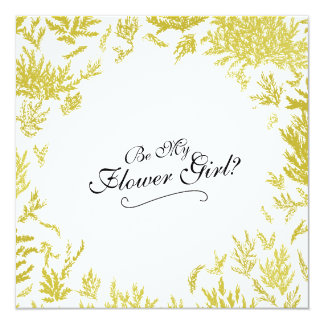 Elegant Gold Wedding 'Be My Ring Flower Girl?' Card