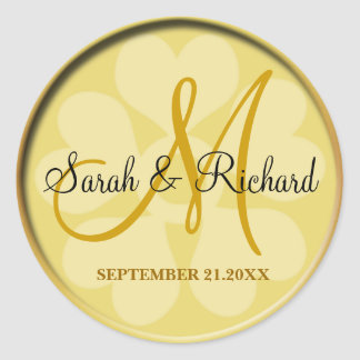 Elegant Gold Wedding Monogram Classic Round Sticker