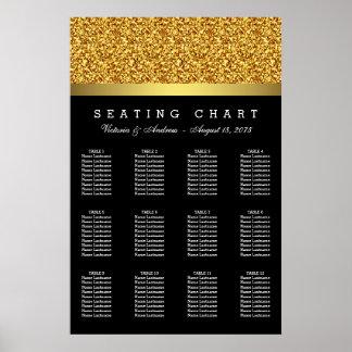 Elegant Gold Wedding Seating Chart Poster