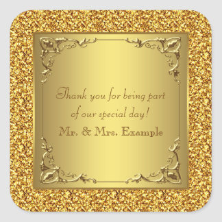 Elegant Gold Wedding Square Sticker