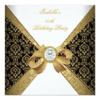Elegant Gold White Diamond Black Birthday Party 13 Cm X 13 Cm Square Invitation Card