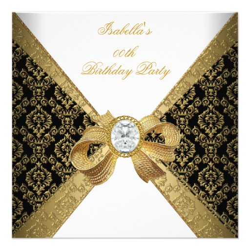 Elegant Gold White Diamond Black Birthday Party Custom Invites