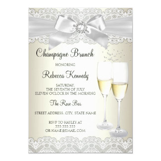 Elegant Gold White Lace Champagne Brunch Invite