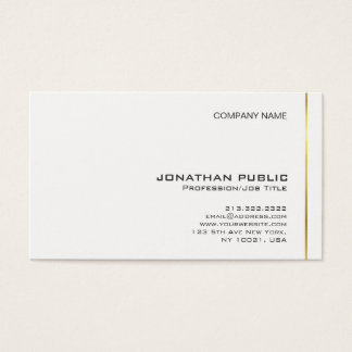 Elegant Gold White Modern Professional Graphic Business Card