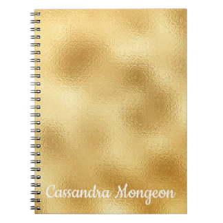 Elegant Gold & White Personalized Glam Notebooks