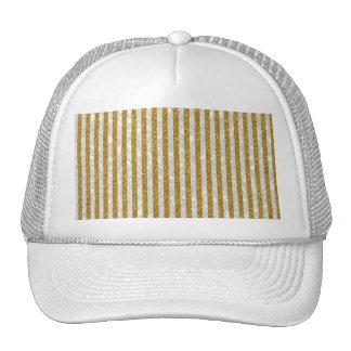 Elegant Gold White Stripes Glitter Photo Print Cap
