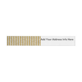Elegant Gold White Stripes Glitter Photo Print Wraparound Address Label