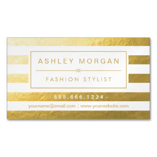 Elegant Gold White Stripes - Luxury and Stylish Magnetic Business Cards