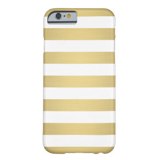Elegant Gold White Stripes Metallic Luxury Barely There iPhone 6 Case
