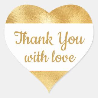Elegant Gold & White Thank You Glam Wedding Heart Sticker