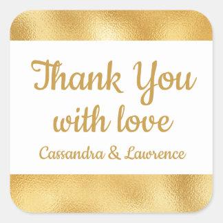 Elegant Gold & White Thank You Glam Wedding Square Sticker