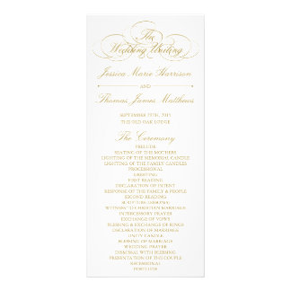 Elegant Gold & White Wedding Program Template Rack Card