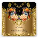Elegant Gold Yellow Bird Black 70th Birthday